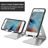 [Updated Solid Version] OMOTON Desktop Cell Phone Stand Tablet Stand, Advanced 4mm Thickness Aluminum Stand Holder for Mobile Phone and Tablet (Up to 10.1 inch), Silver