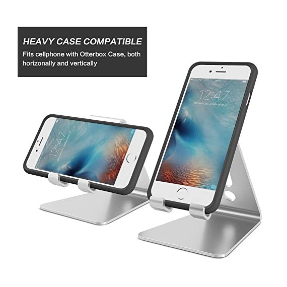 Desktop Cell Phone Stand Tablet Stand Updated Solid Version Advanced Thickness Aluminum Stand Holder for Mobile Phone and Tablet 7