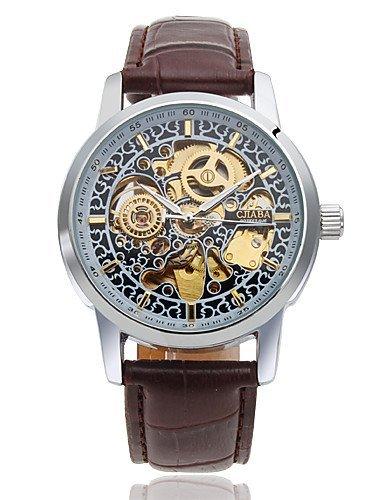 Reloj automático, de hombre, esfera con grabado hueca, correa de piel sintética: Amazon.es: Relojes
