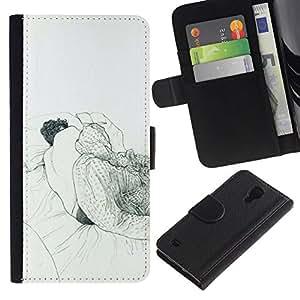 All Phone Most Case / Oferta Especial Cáscara Funda de cuero Monedero Cubierta de proteccion Caso / Wallet Case for Samsung Galaxy S4 IV I9500 // Sleeping Dream Art Drawing Pencil Man Bed