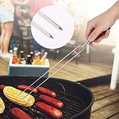 Sugoyi Fourchette à Main, 6Pcs brochettes de Fourchette en Forme de U en Acier Inoxydable avec 2 pinceaux Brosse à Barbecue en Silicone