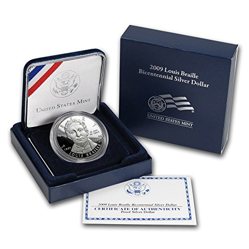 2009 P Louis Braille Bicentennial Silver Dollar US MINT PAPERS US Mint Proof