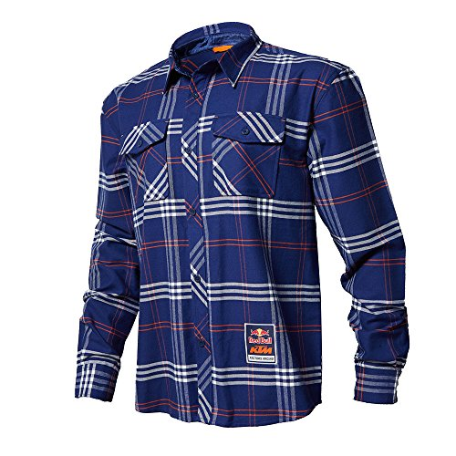 Red Bull KTM Factory Racing Flannel Shirt Navy Blue X-Large