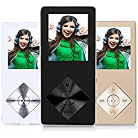 FecPecu Music Player, Metal 8GB MP3 Player 30 Hours Playback Hi-Fi Sound, Portable Audio Player Build-in Speaker Expandable Up To 64GB (Black)