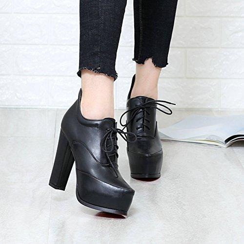 KHSKX-Tief Betuchte Frauen Dran Frauen - Stiefel Lace Up Stiefel Wasserfeste Schuhe Frauen - Stiefel Einheitliche Stiefel Martin Stiefel Schwarz Thirty-four