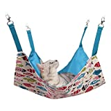 KitCat Cat Hammock, Ferret, Rabbit, Small Dogs Or Small Pet - Easy to Attach to A Cage - 7 Designs (Blue Fish, Large)