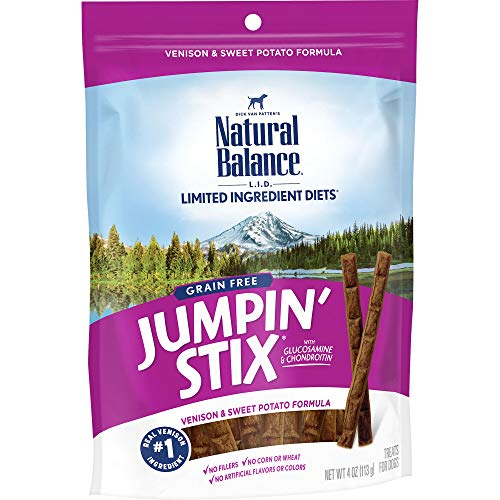 Natural Balance L.I.T. Limited Ingredient Treats Jumpin' Stix Dog Treats, Grain Free, Venison & Sweet Potato Formula, 4-Ounce (Best Venison Sausage Recipe)