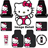 Hello Kitty Sanrio Waving Auto Car Truck SUV Accessories Interior Combo Kit Gift Set - 8PC