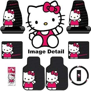 hello kitty sanrio waving auto car truck suv accessories interior combo kit gift set. Black Bedroom Furniture Sets. Home Design Ideas