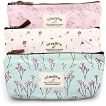 NiceWave Countryside Flower Floral Pencil Pen Case Cosmetic Makeup Bag Set of 3