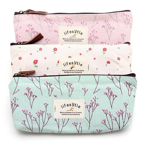 DierCosy Countryside Flower Floral Pencil Pen Case Cosmetic