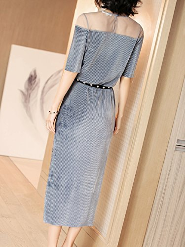 Waist Dress Con Body cotyledon Women`s Dresses Formal High Stripe nRSURTqX8v