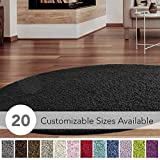 iCustomRug Cozy and Soft Solid Shag Rug 6' Diameter Black Round Area Rug Ideal to Enhance Your Living Room and Bedroom Decor