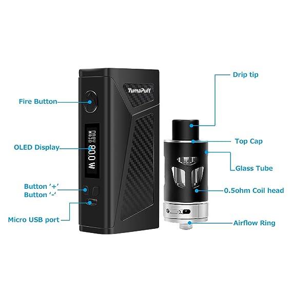 E Cig Vape Mod Starter Kit, YumaPuff FALCON 100W, Ecig 2000mAh Vape Box Batería con pantalla OLED, 0.5ohm / 2.0ml Sub-Ohm Vape Tank, E Cigarette Vape ...