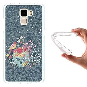 Funda Huawei Honor 7, WoowCase [ Huawei Honor 7 ] Funda Silicona Gel Flexible Calavera con Flores y Pájaro, Carcasa Case TPU Silicona - Transparente