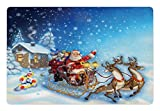 Ambesonne Christmas Pet Mat for Food and Water, Santa in Sleigh with Reindeer and Toys in Snowy North Pole Tale Fantasy Image, Rectangle Non-Slip Rubber Mat for Dogs and Cats, Navy Blue