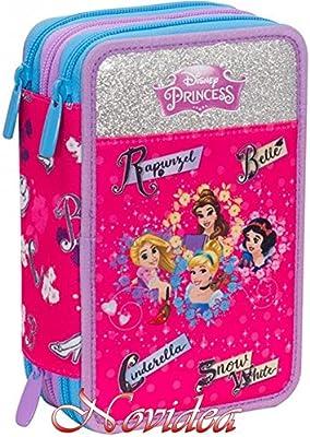 Estuche Escolar Princesas Disney 3 cremallera completo niña morado rosa 20 x 13 x 7 cm + regalo bolígrafo multicolor: Amazon.es: Oficina y papelería