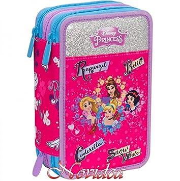 Estuche Escolar Princesas Disney 3 cremallera completo niña ...