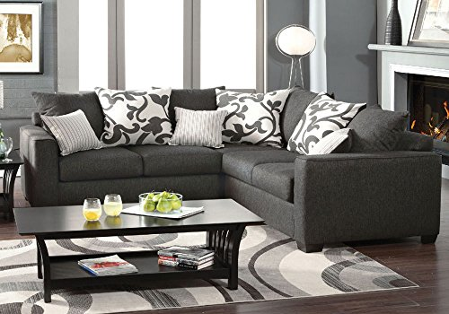 1PerfectChoice Cranbrook Transtional L-Shaped Sectional Sofa Charcoal Fabric Pillows US Made