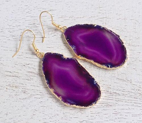 Purple Agate Earrings Slice Agate Geode Large Gemstone Dangle ()