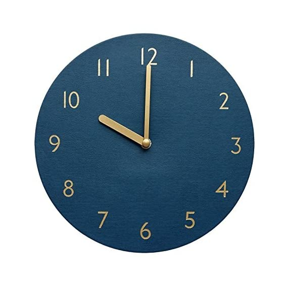 "thehaki Decorative Wall Clock Silent & Non-Ticking Quartz Clock PU Leather Lightweight 0.4lb Round 9"" (Navy) - GREAT HOME DECOR - Simple, modern and polished design. This decorative wall clock is a piece of art. LIGHTWEIGHT - 0.4lb Very lightweight and you can hang it on the wall just with double-sided adhesive tape. SILENT - Perfect for a bedroom, classroom, office and any room in your home. - wall-clocks, living-room-decor, living-room - 51P5GCj2wJL. SS570  -"