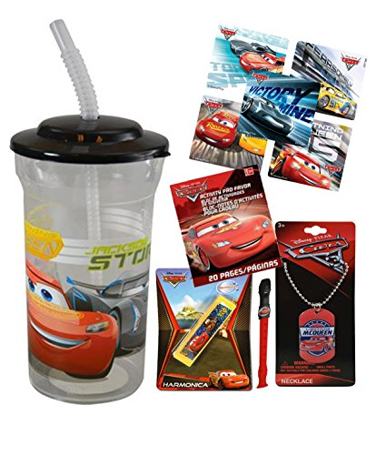 Disney Pixar Cars Fun Sip Favor Cup! Valentines Day Gift, Easter Basket Filler, Stocking Stuffer or Party Favor! Pre-Filled & Ready For Giving! Includes Keepsake Tumbler, Stickers & Favors!