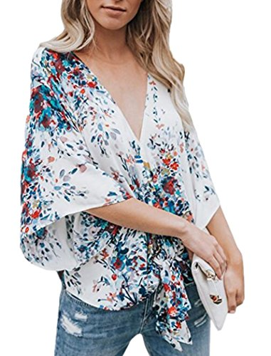 DearQ Boho Floral Chiffon Blouse Casual Plus Size Batwing Blouse Hippie Semi Sheer Loose Top (one Size, Blue2) -
