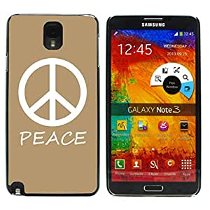 Graphic4You Peace Sign Design Hard Case Cover for Samsung Galaxy Note 3 (Tan)