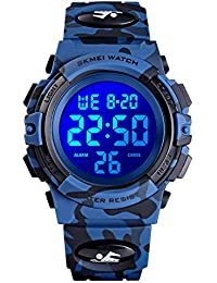 eYotto Kids Sports Watch, Boys Camouflage Military Digital Wristwatches Outdoor Waterproof LED 7 Colorful Alarm Stopwatch …