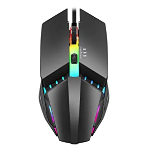 Wired Gaming Mouse, 7 Color Optical Backlit, 1600 DPI Adjustable Gaming Mice, Silent & Stable PC Mouse Comfortable Grip Ergonomic Mice for PC, Laptop, Mac, Windows