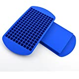 Mini Ice Cubes ,Food Grade Silicone Ice Pop Trays Candy Molds, 3/8'' 160 Frozen Mini Cubes Keep Cool for Hours (Blue, Pack of 2)