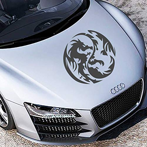 INDIGOS UG Car Sticker - Bumper Sticker Yin Yang Dragon 50cm x 50cm Graphite Metallic - Tuning Car Styling Rear Window car (Dragon Graphite)