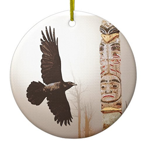 (88BoydBertha Christmas Hanging Ornament Flying Raven & Totem-pole Fantasy Art Ceramic Ornament Circle)