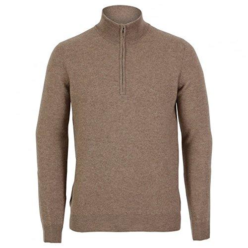 cashmere Men's Half Zip Sweater Large Natural Natural
