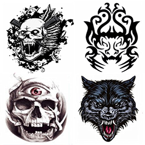4 Sheets Arm Tattooes Unique Totem Temporary Tattoo Sticker Decal Body Art Waterproof Fake Ideal for Men/Women Arm, Leg 22x15cm--Group (Carnival Man With Direction Sign)