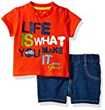 GUESS Baby Boys' Set Sleeve T-Shirt and Shorts, French Orange, 12M