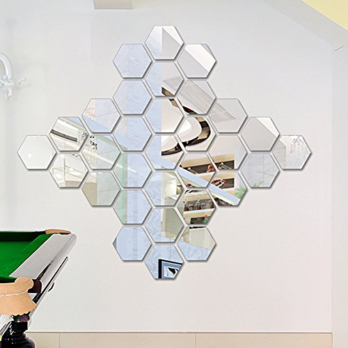 Zadaro Decorative 3D Mirror Hexagonal Wall Stickers Modern Removable DIY Acrylic wall art decor for Home Pack Of 12pc Small Each Side 4cm(S, Silver) for $<!--$4.51-->