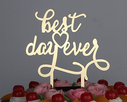 LOVELY BITON Gold Best Day Ever Cake Topper Shining Numbers Letters for Wedding, Birthday, Anniversary, Party.