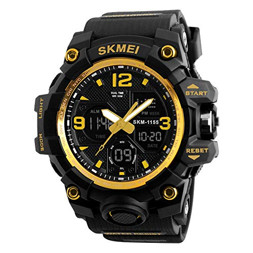 LGPNB Outdoor Sports, Watches, Men, Electronic Watches, Large dials, Waterproof, Fashion, Multi-Function, high-end Electronic - Gold Dial Multifunction
