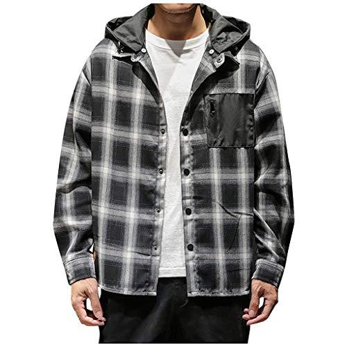 Men's Casual Fashion Plaid Printing Loose Hoodie Removable Long Sleeve Shirt Top Black