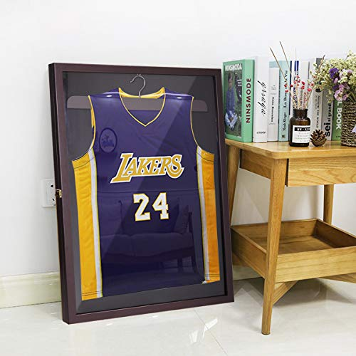 Brown Wall Mounted Jersey Display Case Memories Box Frame Baseball Basketball Shadow Box