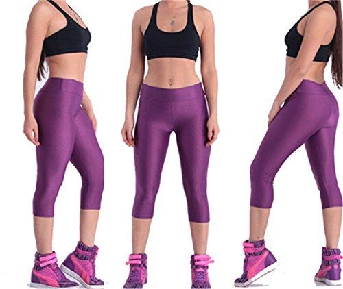 QIYUN.Z Polainas Cortas Deportes De Yoga Estiramiento Bajo Las Medias De La Rodilla Pantalones Spandex Flacos S-XL morado