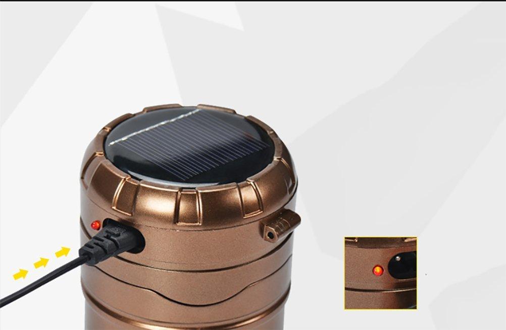 YONGYUE Linterna Que Solar Portátil Que Linterna Acampa Luz Recargable De La Batería De Litio Mano Lámpara Al Aire Libre Que Acampa Lanterna Luces De La Tienda,Oro 168a19
