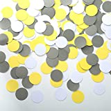 Circle Dots Paper Confetti Table Decor and Wedding Party Decor, 1.2 inch in Diameter (yellow,grey,white,200pc)