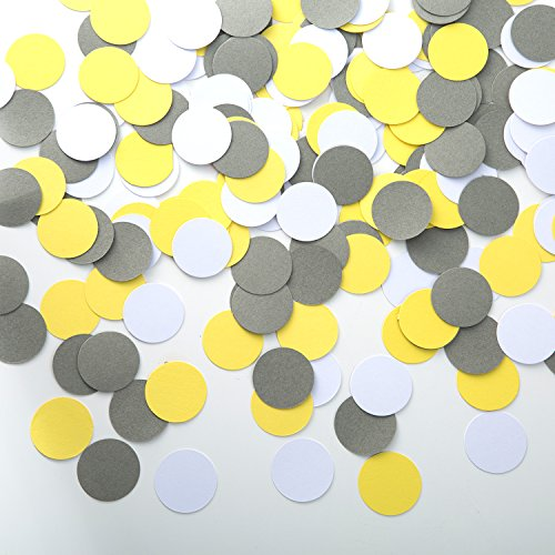 MOWO Circle Dots Paper Confetti Table Decor and Wedding Party Decor, 1.2 inch in Diameter (Yellow,Grey,White,200pc) - Grey White Dots
