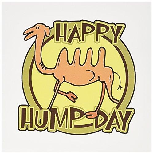 "3dRose Funny Happy Hump Day Camel Cartoon Design Greeting Cards, 6"" x 6"", Set of 6 (gc_159497_1)"