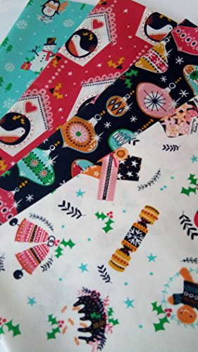Fabric Merry Christmas (Dashwood Studio MERRY LITTLE CHRISTMAS Fabric ~ Cotton ~ 4 fat quarters ~ 1 yard)