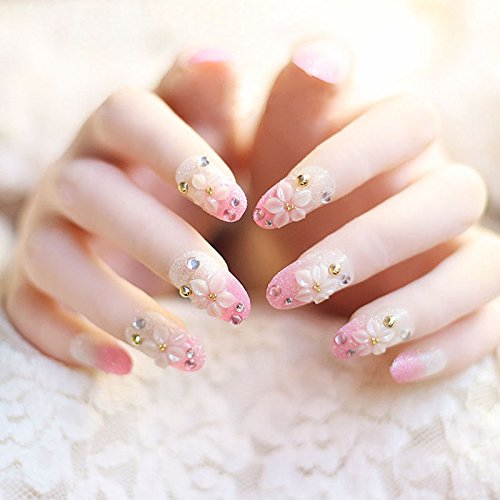 Fake Nail Tips - 24 Pieces Glitter Pink Flower Design False Fake Nails Artificial Full Cover Nails Tips Rhinestone Manicure With Glue -