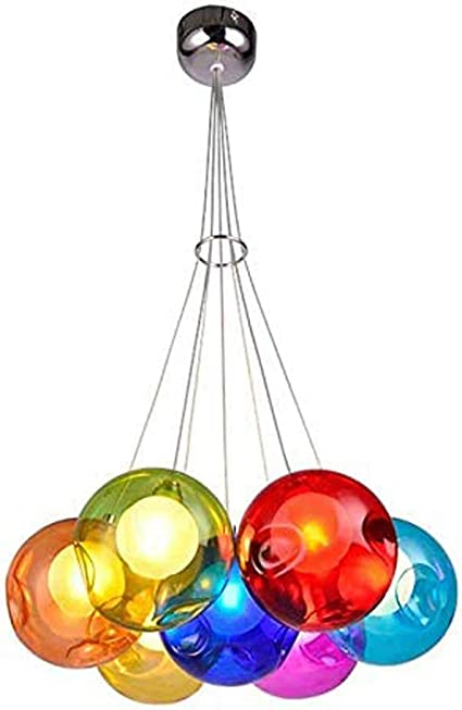 Liqi Led Modern Round Pendant Lights Dining Room Pendant Lamp Adjustable In Height Creative Stained Glass Ball Design Chandelier For Living Room Bedroom Nursery Dining Table Bar Coffee Shop 7 Heads Amazon Co Uk Kitchen