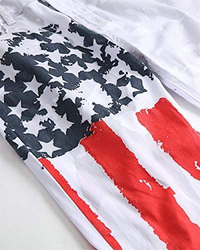 Fit Bianca Usa Jeans Denim Abbigliamento Slim Vintage Stretch Stampata Da Uomo Pantaloni Bandiera gXq7xEwFZq
